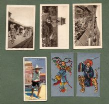 CHINA 6 very old cigarette tobacco cards Chinese images  #203